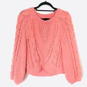 Express Chenille Cable Knit Boat Neck Sweater EUC
